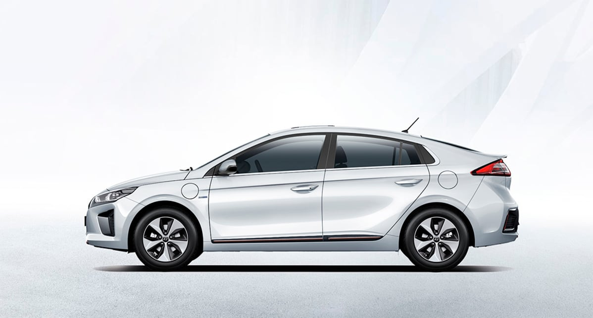 Side view of white Ioniq Electric with white background